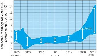 Projeksjoner for FNs klimapanels varmeste scenario, såkalt RCP8,5. Usikkerheten i klimamodellene blir betraktelig større nær polene, fordi det har vært en mangel på stabile observasjoner der.