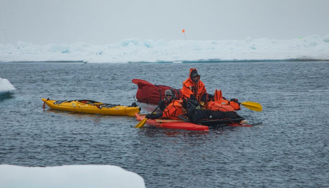 Bilde 2: Morven Muilwijk og en gruppe forskere bruker en katamaran laget av to kajakker til å hente måleutstyr på isflak som har brukket av og drevet fra det sentrale forskningsflaket.