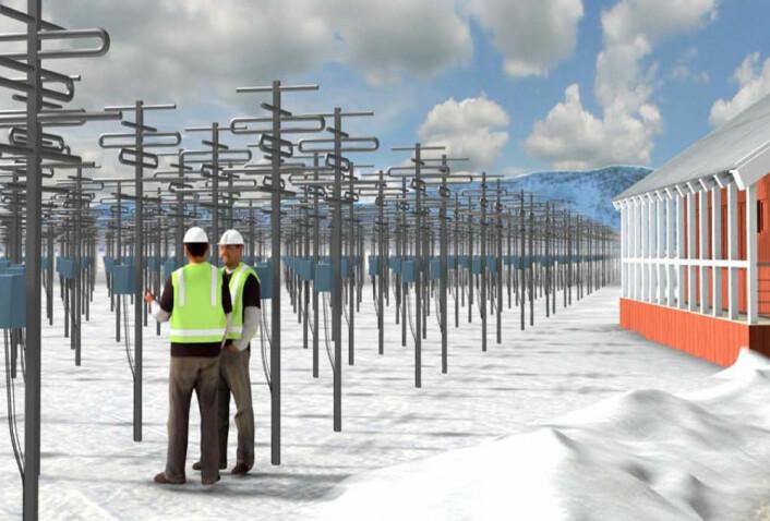 Når det nye nordiske radarnettverket er bygget ut med tusenvis av antenner som til sammen gir muligheten til lynraske radarsveip over ionosfæren, vil anlegget trolig se omtrent slik ut. (Foto: (Illustrasjon: EISCAT Scientific Association))