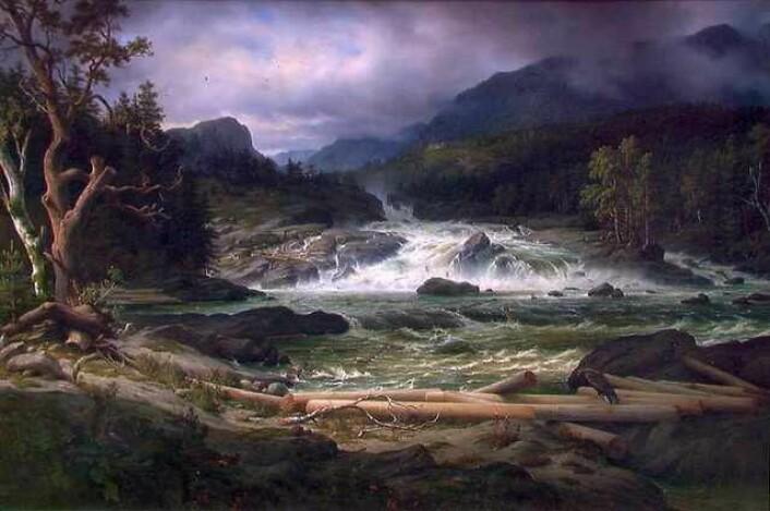 Thomas Fearnley: Labrofossen ved Kongsberg. Lillehammer kunstmuseum. (Foto: (Bilde: Wikimedia Commons.))
