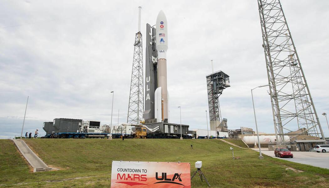 En United Launch Alliance Atlas V-rakett står klar til sende NASAs nye rover på vei mot Mars. Oppskytningen skal skje ved Cape Canaveral Air Force Station i Florida.