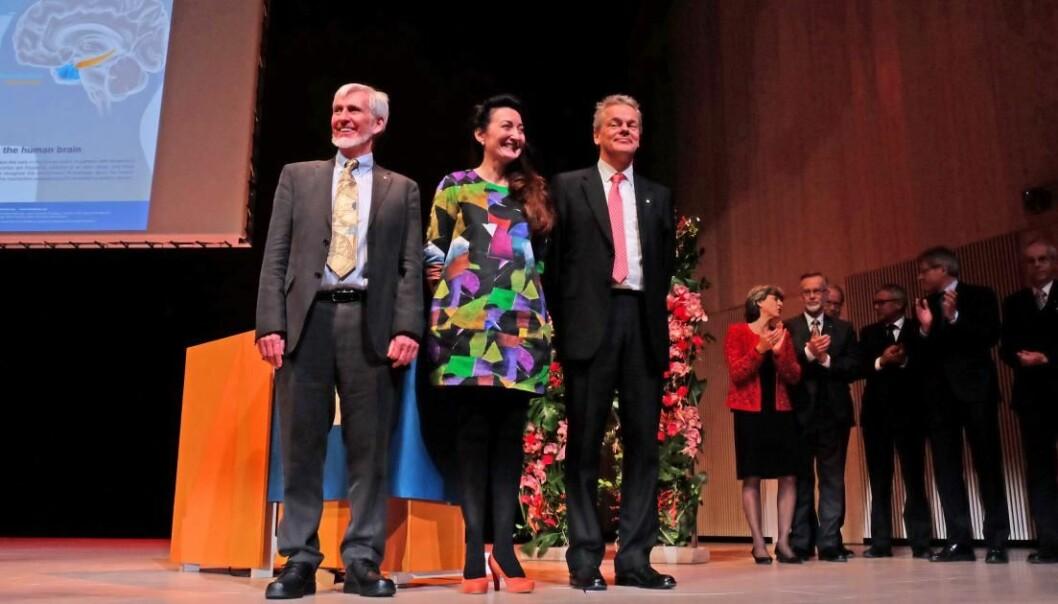 Nobelprisvinnerne John O'Keefe (t.v.), May-Britt Moser og Edvard Moser etter nobel-foredragene i Stockholm i 2014.