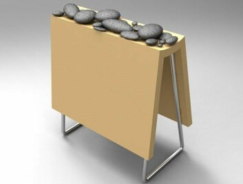 En prototyp på en flyttbar ovn, fyrt på strøm og olje, men med steiner som varmemagasin. Steinene kan kjøperen finne selv ute i naturen. (Foto: (Illustrasjon: Siri Beate Persen))