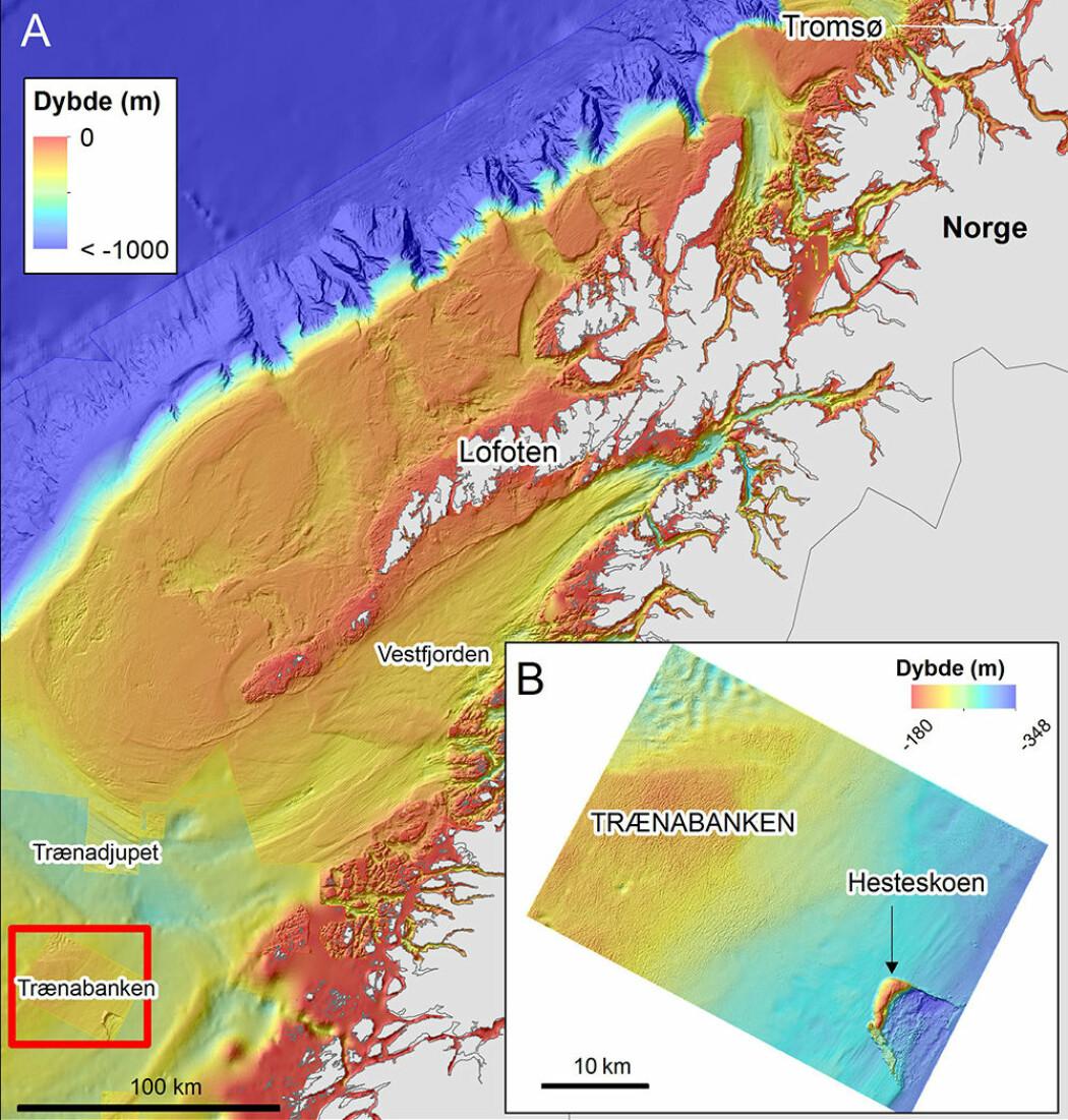 Figur 1A (200 m grid) viser bunntopografien mellom Tromsø og Trænabanken. Figur 1B (50 m grid) viser Trænabanken der isbreer har løftet bunnmasser og avsatt dem i en hesteskolignende formasjon («<i>hill-hole pair</i>»). Høyoppløselig bunnterrengdata er innsamlet av Kartverket/Mareano. Bakgrunnskart: GEBCO.