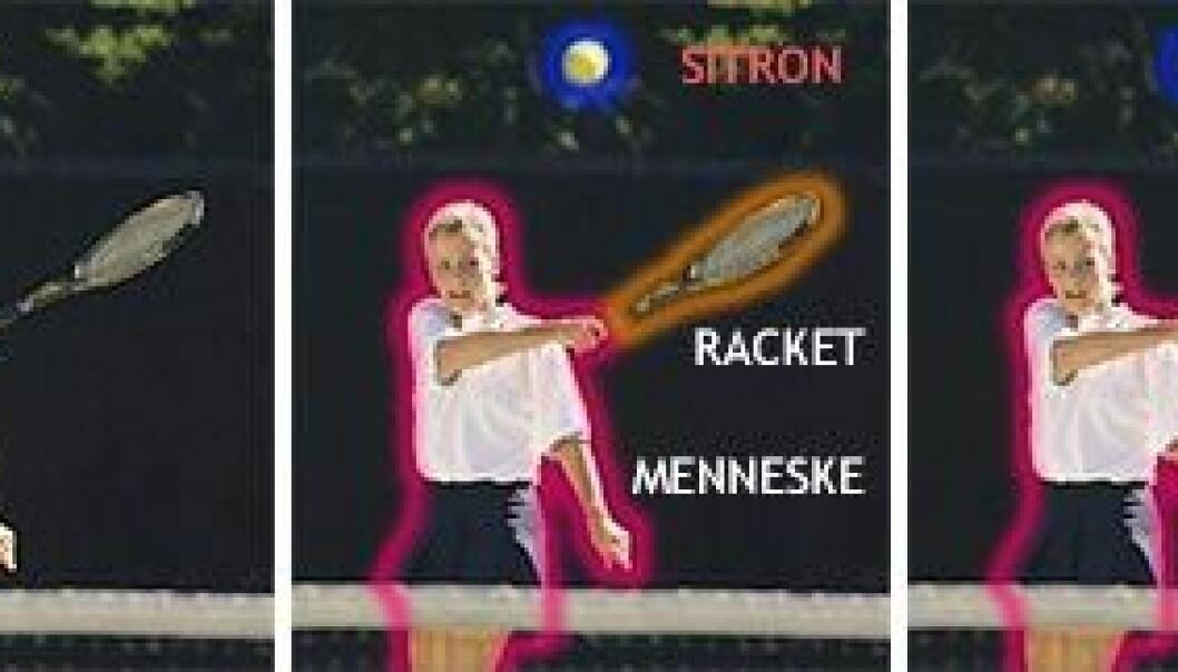 """""""T.v: Hva er den gule flekken, en sitron eller tennisball? Midten: Først finner dataprogrammet hvert element, og prøver å tolke det for seg. T.h: Først etter å ha sett tolkningene i sammenheng finner programmet ut at sitron må være feil, og at tennisball trolig er riktig. Sammenhengen viser at personen også trolig er en tennisspiller. (Illustrasjon: forskning.no)"""""""