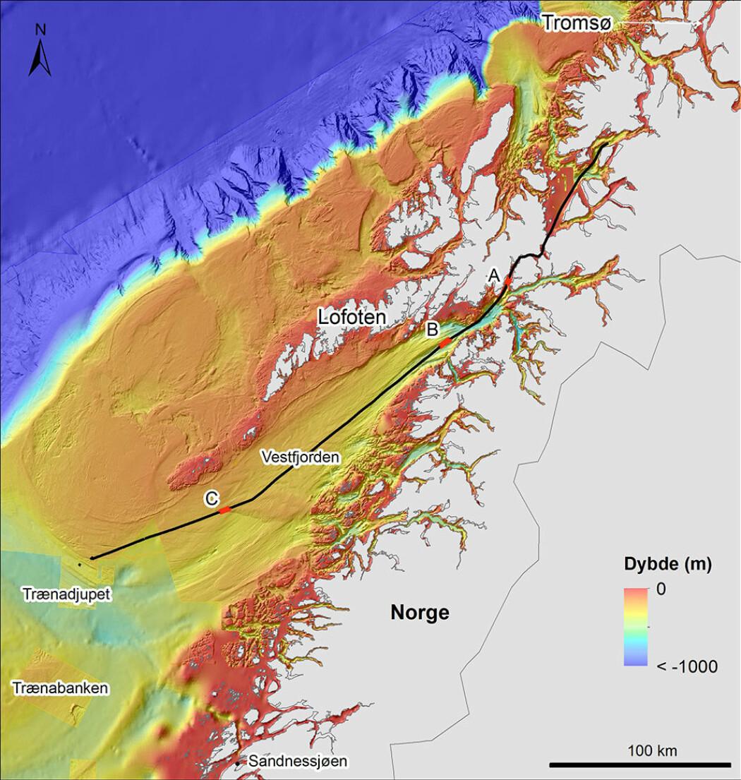 Seilingsruten fra Tromsø til Trænadjupet. Kartet har 200 meters grid og høy oppløsning. Dybdedata er samlet inn av Kartverket. Bakgrunn: GEBCO dybdedata.