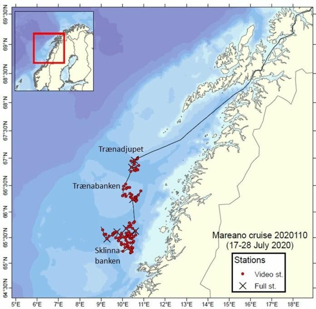 <b>Figur 1</b>. Et hundretalls lokaliteter er prøvetatt og videfilmet fra FF G.O. Sars under MAREANOs tokt på kontinentalsokkelen utenfor Nordland og Trøndelag.