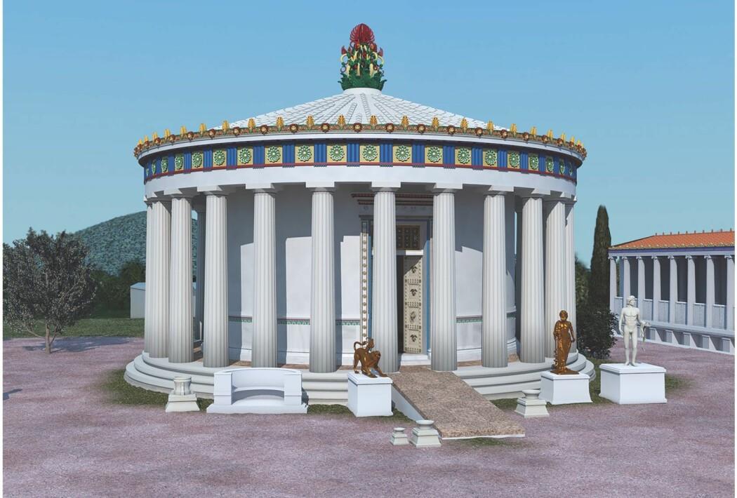 Asklepios-templet i byen Epidauros i antikkens Hellas. Det var 11 ramper i helligdommen, der syke folk dro for i håp om å bli friske. Bildet er en digital rekonstruksjon av templet, som ble renovert opp i 370 fKr. - og det kan være da rampene ble installert.