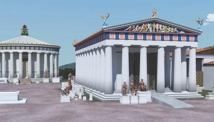 Rampene kan også vært brukt til å frakte materialer, ting og dyr inn og ut av templet. Digital rekonstruksjon av tempel i oldtidsbyen Epidauros.