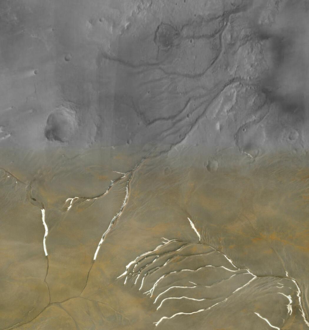 Her ser du daler på Mars på den øverste delen av bildet, og daler fra jorda på den nederste. Forskerne mener de er lagd på samme måte.