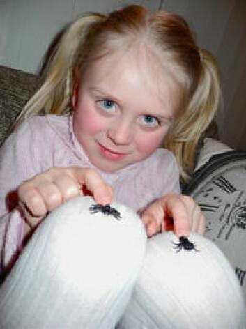 Amelie Mogaard på fem år var livredd innsekter. Etter en sakte tilvenning er hun kvitt frykten. (Foto: UiT)