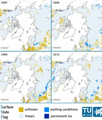 Mønsteret av smelting i Arktis målt av værsatellitten MetOp. (Foto: (Illustrasjon: Vienna University of Technology))