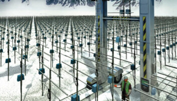 Illustrasjon av hvordan EISCAT 3D-antennene vil se ut (Illustrasjon: EISCAT/Universitetet i Tromsø)