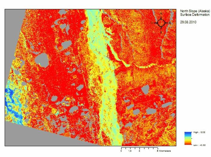 Nedsynking av landskapet på grunn av permafrostsmelting om sommeren målt av satellitten TerraSAR-X. (Foto: (Illustrasjon: Gamma Remote Sensing ))