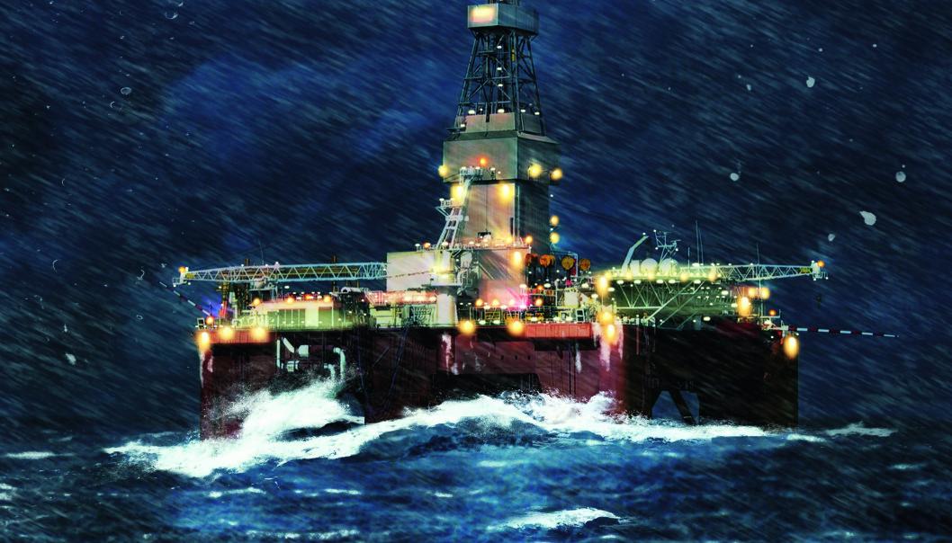 PLATTFORM I HARDT VÆR: Sprengkulde, ising, snø og uforutsigelige værforhold gjør arbeidet på en plattform i Barentshavet langt tøffere enn i Nordsjøen. Illustrasjon: Ole Andre Hauge