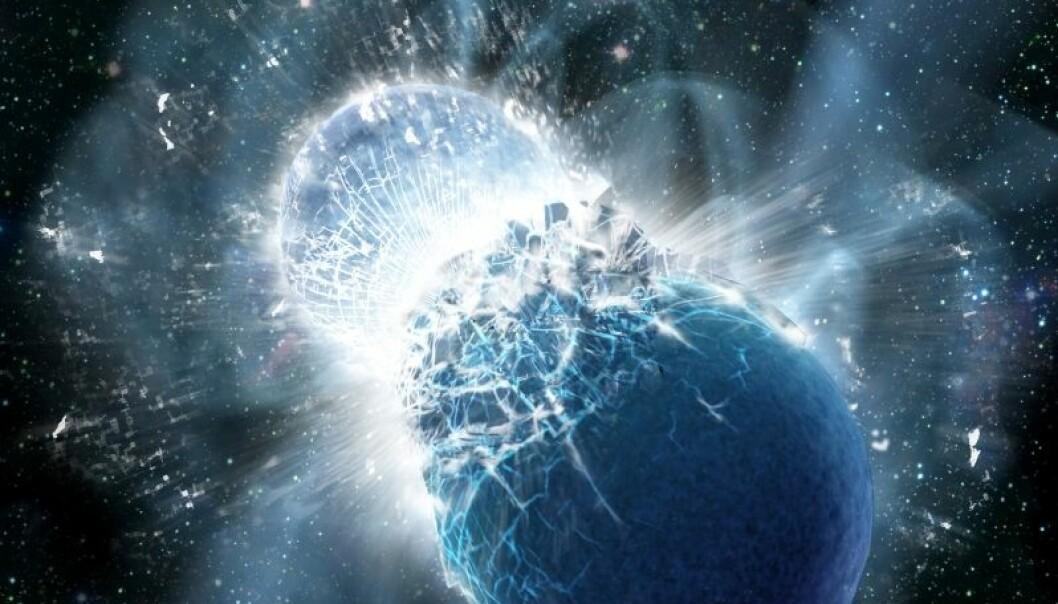 To restklumper etter supernovaer krasjer med hverandre, slipper ut enormt med energi, og lager svære mengder gull i samme slengen. Det er det forskerne tror skjedde, basert på et lysglimt de har sett i to tidels sekunder. (Illustrasjon: Dana Berry/SkyWorks Digital, Inc.)