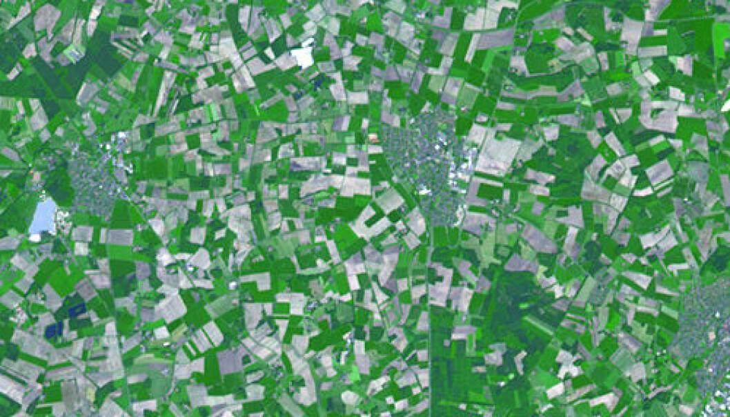 Jordbruk i det nordvestlige Tyskland sett fra rommet. NASA/GSFC/METI/ERSDAC/JAROS og ASTER Science Team