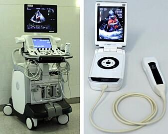 Avansert, stasjonært ultralydapparat til venstre. Håndholdt ultralydapparat til høyre – mindre avansert, men veldig praktisk!