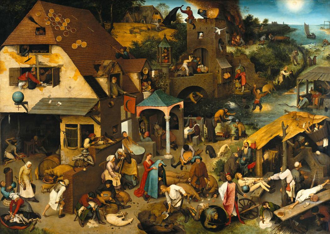 Synet på middelalderbyer som veldig møkkete er overdrevet, tror forskere. Men byene hadde sine utfordringer. Maleriet viser ikke en middelalderby, det er laget på 1500-tallet, og viser diverse ordspråk.