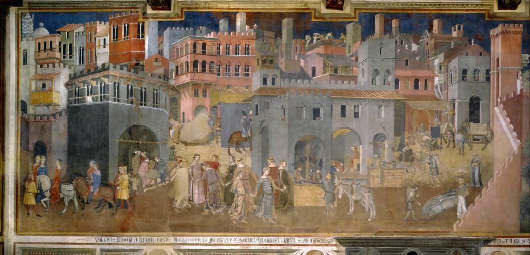 Freskomaleri av byliv malt på 1300-tallet i i Italia