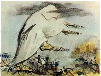 Kolera illustrert som en skjellet som fører med seg mørke skyer. Illustrasjonen er laget på 1800-tallet.