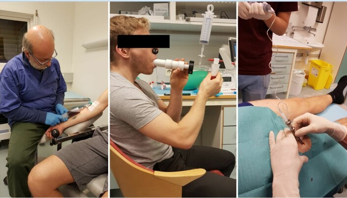 Tapping av blod, måling av blodvolum og biopsiar var noko av det dei frivillige var med på for å gje svar på spørsmåla om maksimalt oksygenopptak.