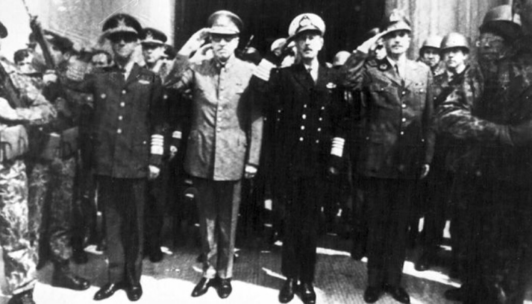 Militærjunta Chile, 1973. Augusto Pinochet nummer to fra venstre. UPI COPYRIGHT SCANPIX SWEDEN/NTB scanpix