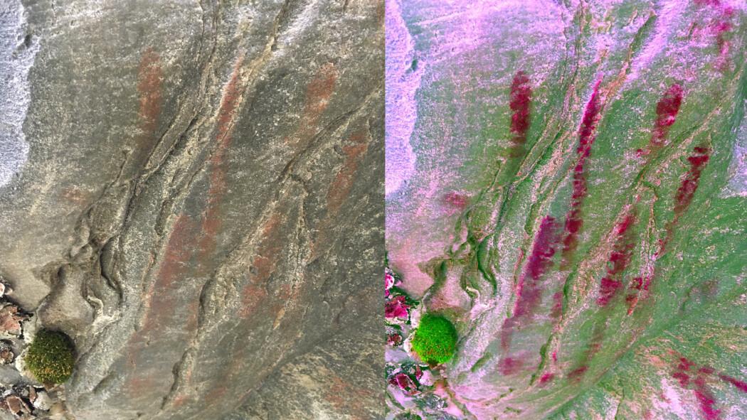 Bildet viser håndavtrykket i naturlige farger (til venstre) og med fargefilter som forsterker fargene (til høyre)