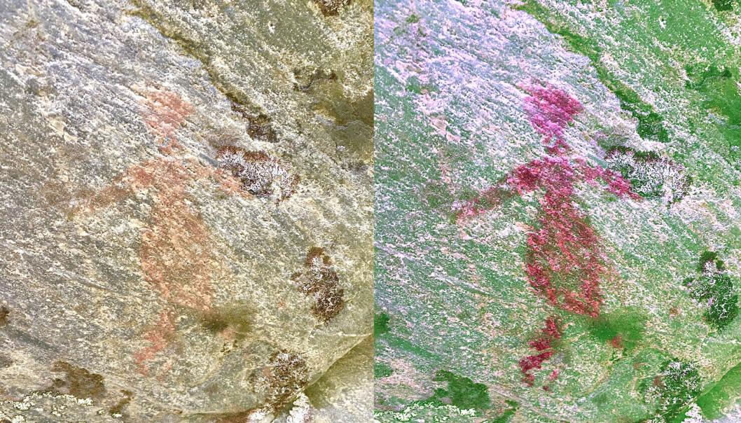 Bildet viser en menneskefigur i både naturlige farger (venstre) og med filter (høyre)