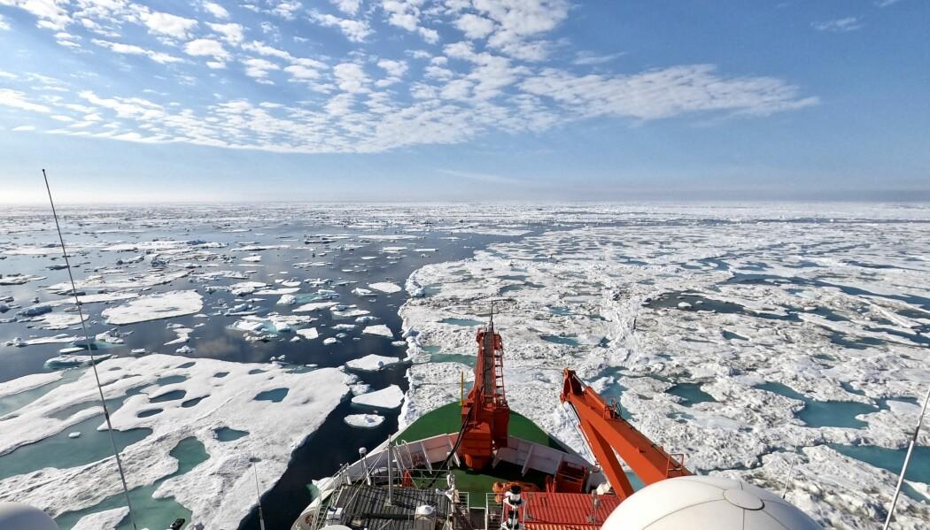 Polarstern drifter sørover og nærmer seg iskanten, isen blir tynnere og det blir mer og mer åpent vann rundt skipet.