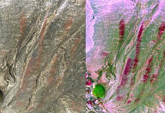 Her har et steinaldermenneske dratt hånda over berget
