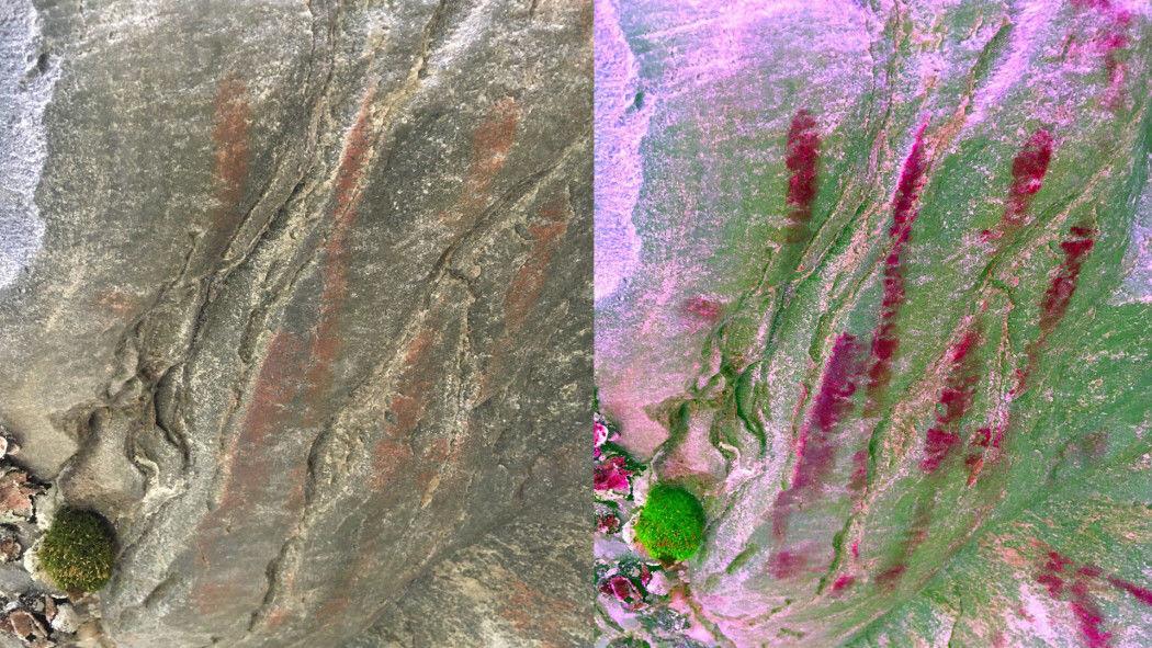 Bildet viser håndavtrykket i vanlige farger (til venstre) og med fargefilter som gjør fargene sterkere (til høyre)