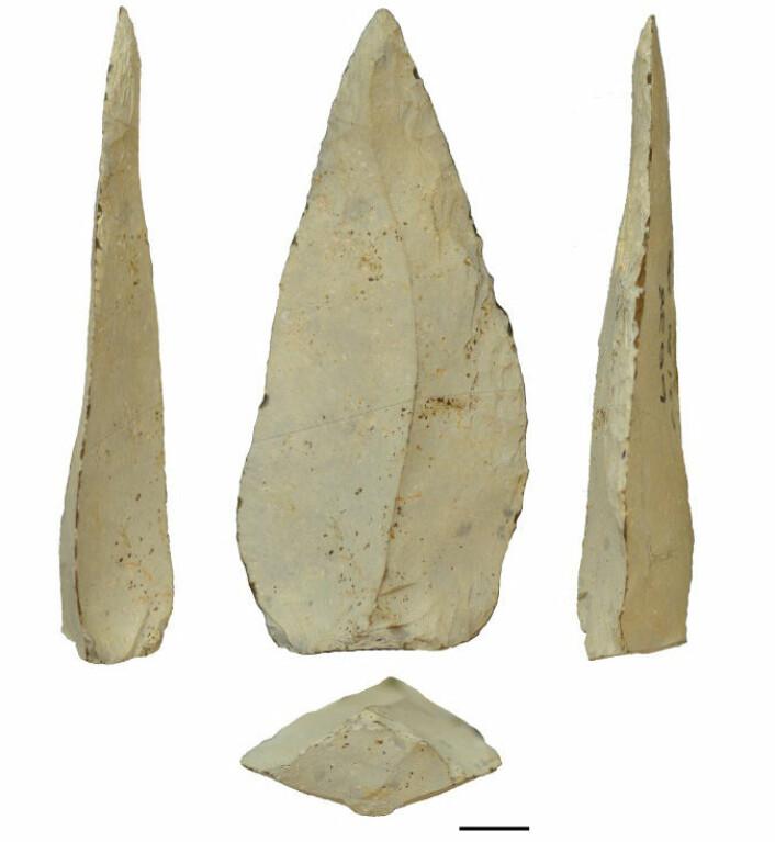 500 000 år gamle spydspisser av stein fra utgravningsstedet Kathu Pan 1 i Sør-Afrika. (Foto: Jayne Wilkins. University of Toronto)