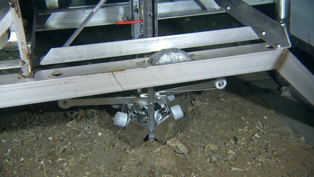«To fluer i ett smekk»; en ørliten fjernstyrt grabb montert på Mareanos videorigg «Chimaera» gir oss både prøver av bunnsedimenter og video-data i samme operasjon. Her tar grabben er jafs av havbunnen etter at biologene og geologene om bord i F/F G.O. Sars har trykket på utløsningsknappen.
