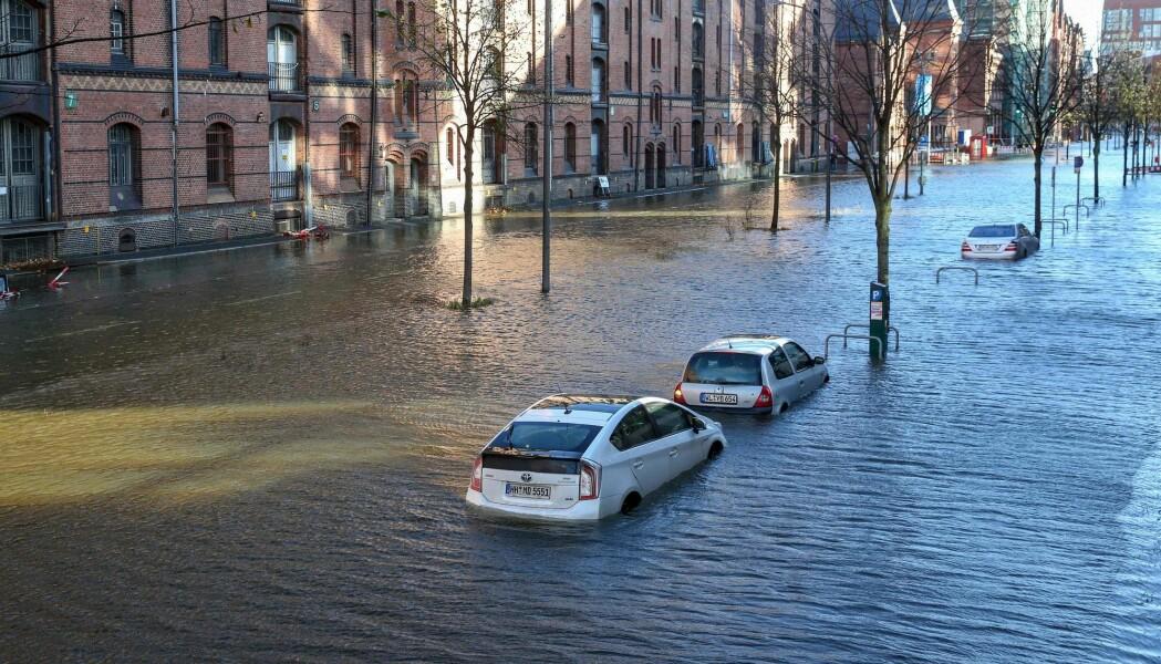 De siste årene har det vært mye flom i Sentral-Europa. Gatene i Hamburg, Tyskland ble oversvømt i oktober 2017.