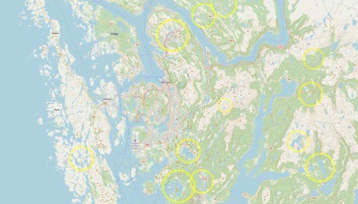 Her er noen mulige meteorittkratre rundt Bergen.
