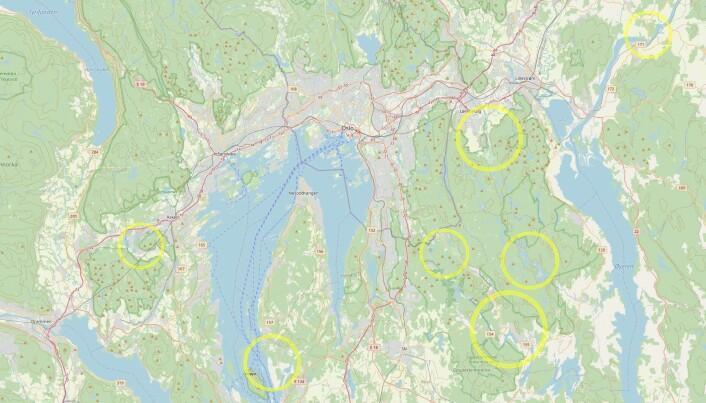 Her ser du noen mulige meteorittkratre rundt Oslo. Fire av dem ligger i og rundt Østmarka.