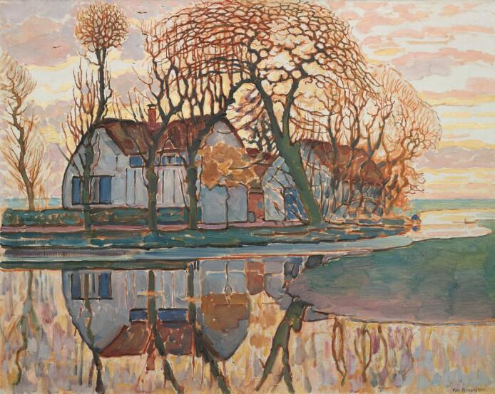 Kunstneren Piet Mondrian i en mer figurativ periode. Det er tydelig hva Farm near Duivendrech fra 1916 forestiller.
