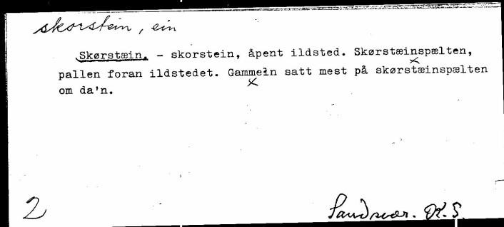 Dette arkivkortet fra språksamlingene ved Universitetet i Oslo viser hvordan skorstein har betydd hele peisen.