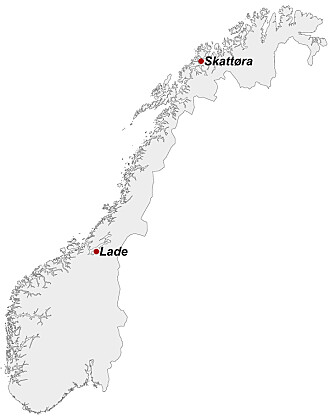 Lade flyplass i Trondheim og Skattøra flystasjon i Tromsø. Kartgrunnlag: Kartverket.