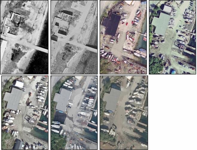 Utsnitt av flyfoto som viser et splintskjul på Skattøra i 1952, 1956, 1998, 2006, 2009, 2012 og 2016 (venstre mot høyre).
