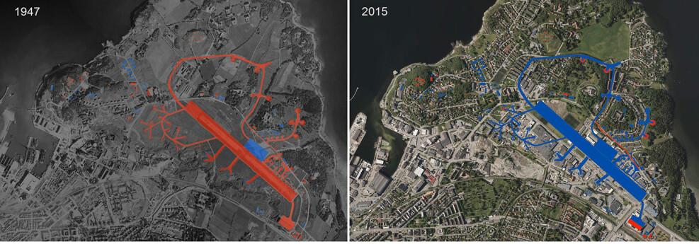 Bygg og anlegg på Lade i 1947 og 2015. Rødt markerer eksisterende bygg og strukturer, mens blått markerer anlegg som er tapt da bildet ble tatt.