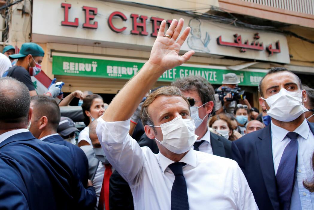 Frankrikes president Emmanuel Macron besøker Beirut i Libanon etter den katastrofale eksplosjonen på havna.