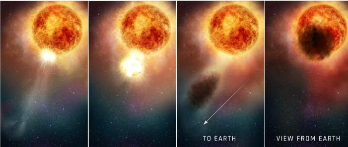 Forskerne tror at Betelgeuse slynget ut enorme mengder glovarmt plasme, som så kjølnet og dannet en gigantisk støvsky som skygget for stjerna.