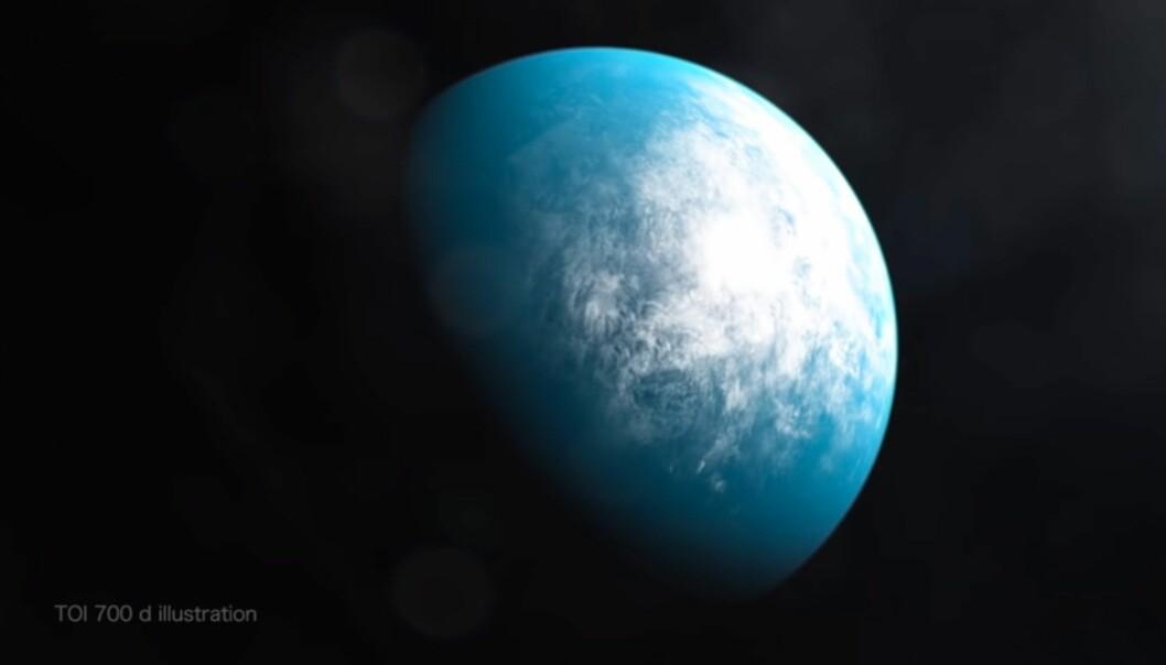Dette er en kunstnerisk framstlling av eksoplaneten TOI 700d, som ligger rundt 100 lysår unna jorden. Den er på størrelse med jorden og ligger i rikitig avstand fra sin stjerne, ifølge NASA.