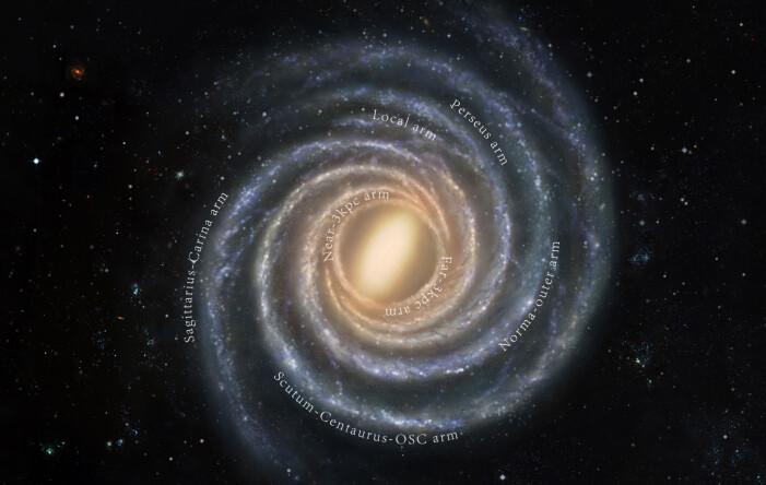 En presis modell av Melkeveien sett fra utsiden, med navn på de forskjellige armene. Solsystemet ligger i den lokale armen, også kalt Orionarmen.