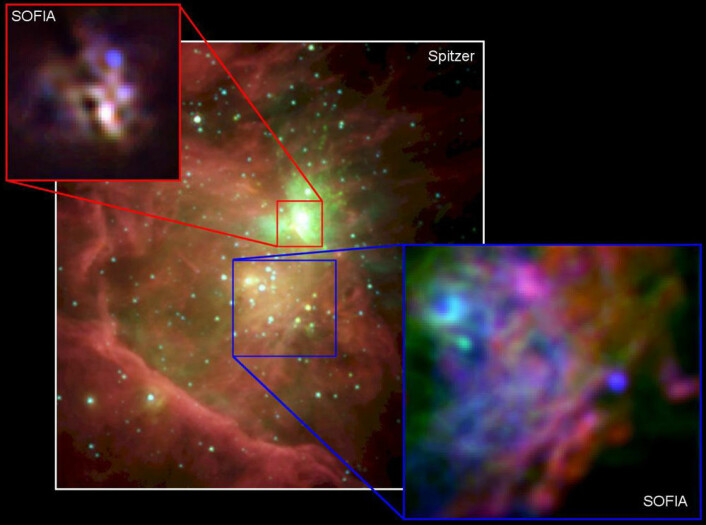 Det store bildet av kjernen i Oriontåken er tatt med romteleskopet Spitzer. De to mindre utsnittene er tatt med SOFIAs infrarøde FORCAST-kamera. (SOFIA foto:James De Buizer / NASA / DLR / USRA / DSI / FORCAST;   Spitzer-foto: NASA/JPL)