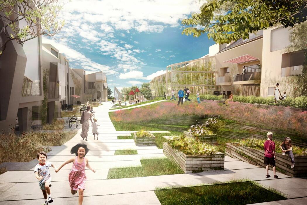Illustrasjon av bomiljøet i klyngetunet i ZENs pilotprosjekt Zero Village Bergen.