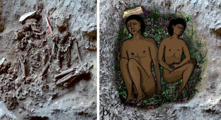 Denne forhistoriske graven med en mann og en gutt var opprinnelig foret med blomster og gress, mener israelske forskere. Til høyre ser du rekonstruksjonen av den 14 000 år gamle begravelsen. (Foto: (Foto og tegning: D. Nadel mfl: PNAS Early Edition, 2013))