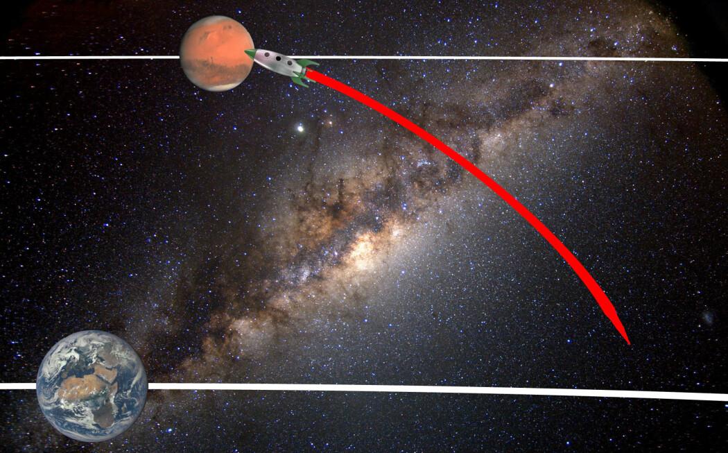 Her har raketten kommet fram til Mars langs den røde banen, uten å bruke motoren, og det er på tide å bremse ned. Jorden går raskere enn Mars rundt solen, og har i tidsrommet gått forbi Mars. Etter dette stadiet kan romfartøyet enten gå inn i bane rundt Mars, eller justere kursen slik at det lander.